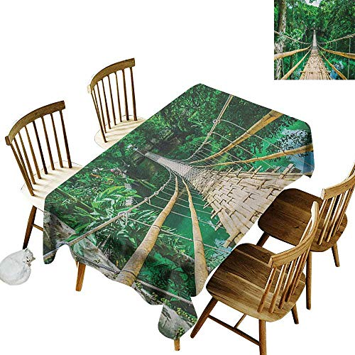kangkaishi Waterproof Anti-Wrinkle no Pollution Long Tablecloth Bamboo Pedestrian Suspension Bridge Over River in Tropical Forest Philippines W14 x L108 Inch Green Beige