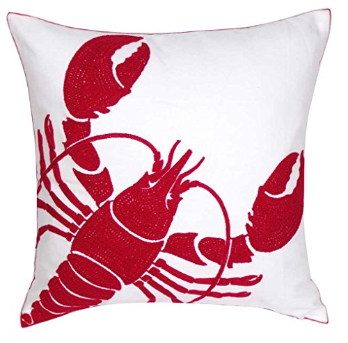 DECOPOW Embroidered Nautical Decor Pillow Covers,Square 18 inch Decorative Canvas Pillow Cover For Nautical Style Deco By (Red-Lobster) (Decor Lobster Red)