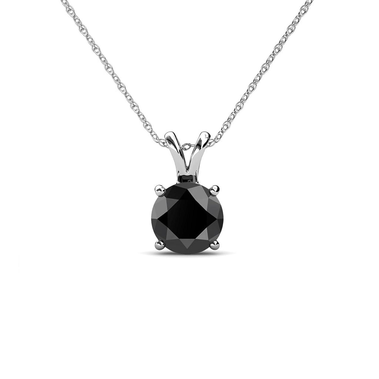 Amazon Black Diamond Round Shape Solitaire Pendant 1 50 ct in