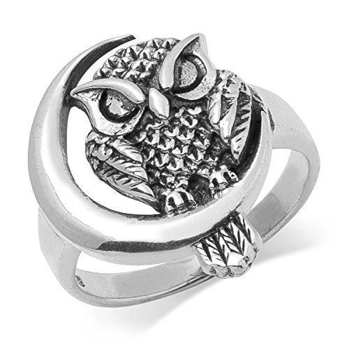 Sterling Silver Midnight Owl and Moon Ring - Select your size
