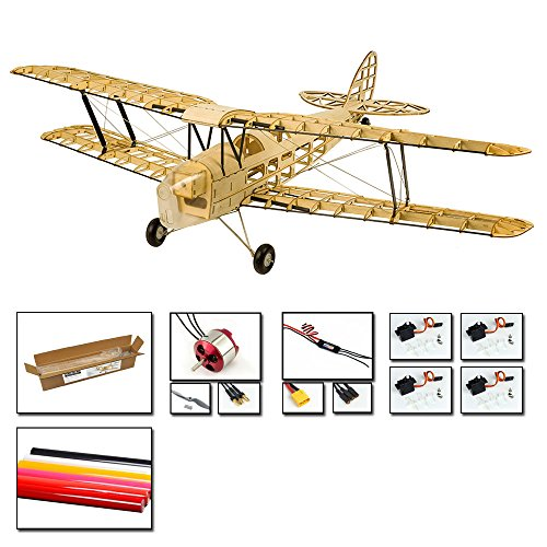 Viloga Balsa Wood Model Plane Mini Tiger Moth Biplane, 39'' Wingspan Laser Cut Electric RC Plane Kit to Build for Adults, DIY 4CH Radio Controlled Airplanes Aircraft Assembly Kit for Hobby Fly (Rc Plane Kit Electric)