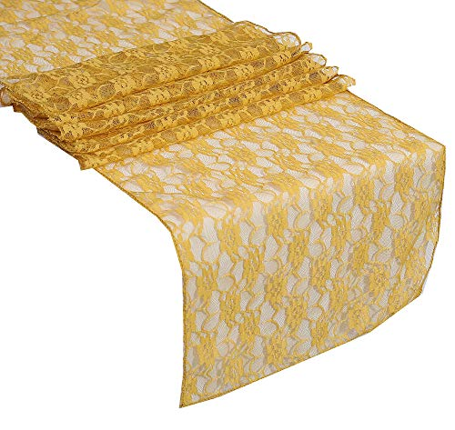 mds Pack of 10 Wedding 12 x 108 inch Lace Table Runner for Wedding Banquet Decor Table Lace Runner- Gold from mds