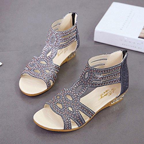 Poisson Mode Dames Brillant Noir Printemps Roma Boho Wedge Créatives Femmes Chaussures Sandales Creux Bouche Pour Femmes Dinglong Été xFwqvzHgU