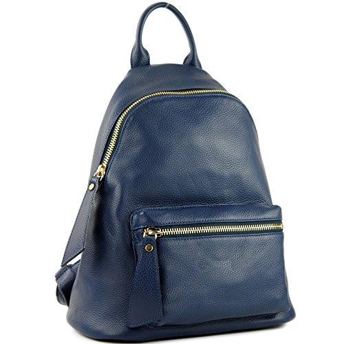 modamoda de de - ital. Mochila de cuero para mujer Mochila mochila Citybag Leather T171A, Präzise Farbe (nur Farbe):Saphirblau
