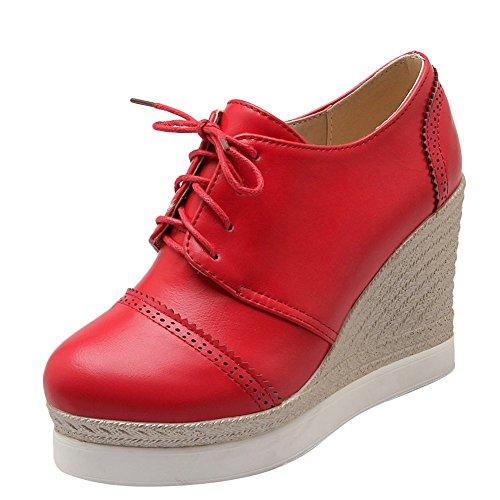 Mee Shoes Damen Keilabsatz Plateau Schnürhalbschuhe Rot