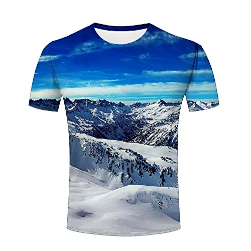 3d Design t-Shirt For Men/Women/Unisex Double-Sided Print Snow Mountain Landscape Graphic Casual Crewneck Tees Tops M - Double Sided Mountain T-shirt