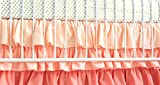Baby Bedding Set | Gold Metallic Sheet and Coral Ombre Tiered Skirt