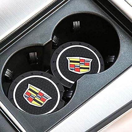 ATS fit for Escalade SXT etc All Models STS CTS SRX Fujun Upgraded 2 Pcs 2.75 inch Car Interior Accessories Anti Slip Cup Mat for Cadillac XTS BLS