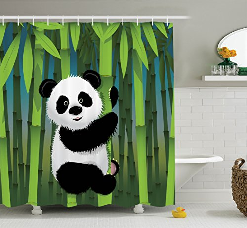 Ambesonne Cartoon Decor Collection, Curious Baby Panda on Stem of the Bamboo Bear Jungle Nature Wood Design Pattern, Polyester Fabric Bathroom Shower Curtain Set with Hooks, Green Blue Black White - Panda Bear Fabric