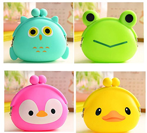 4 Packs Small Cute Animal Silicone Coin Purse Clutch Pouch Wallet for Kids Boys Girls Women Party Favor