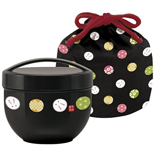 Skater Japanese Bento Bowl 2 Tier Temari Rabbit 560ml (19oz) with Carrying Bag (BLACK)