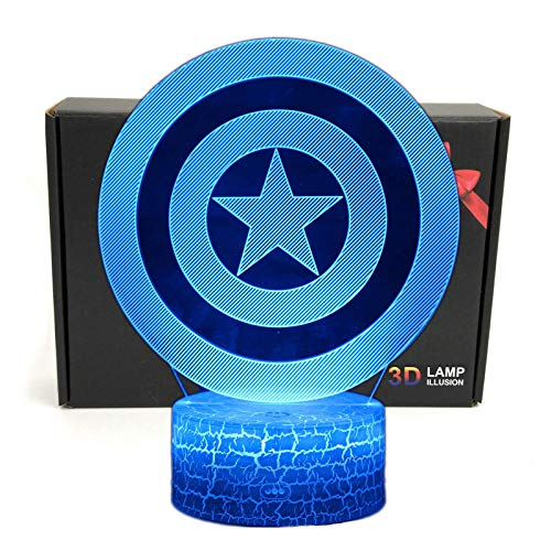 LED Superhero 3D Optical Illusion Smart 7 Colors Night Light Table Lamp with USB Power Cable (Captain -