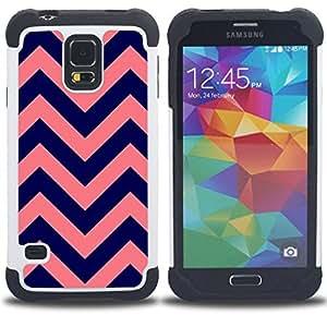 - purple peach pink pattern/ H??brido 3in1 Deluxe Impreso duro Soft Alto Impacto caja de la armadura Defender - SHIMIN CAO - For Samsung Galaxy S5 I9600 G9009 G9008V