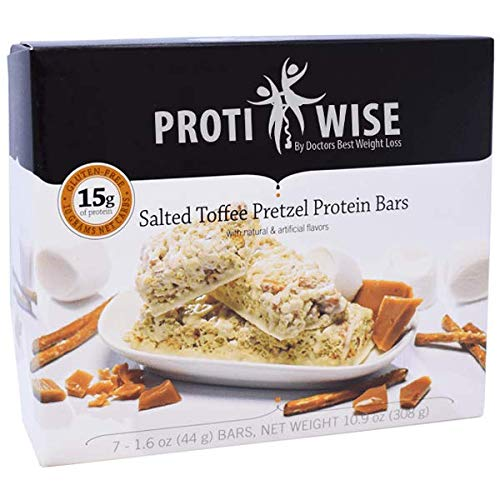 ProtiWise - High Protein Diet Bar | Salted Toffee Pretzel | Low Calorie, Low Fat, Low Sugar (5/Box) (Pretzel Toffee)