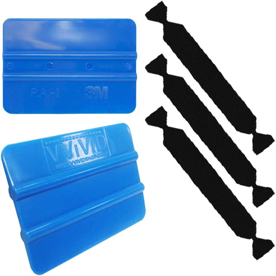 VViViD 3M Blue Squeegee Flexible Plastic Applicator Plus Hard Rubber Contouring Block 3X Black Felt Scratch-Proof Adhesive Decal Vinyl Wrap Tool Kit
