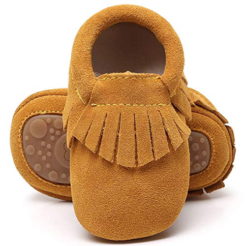 HsdsBebe Toddler Baby Boy Girl Suede Moccasins Genuine Leather Hard Rubber Sole First Walkers Tassels Crib Shoes (0-6 Months M US Infant, Light Brown) ()