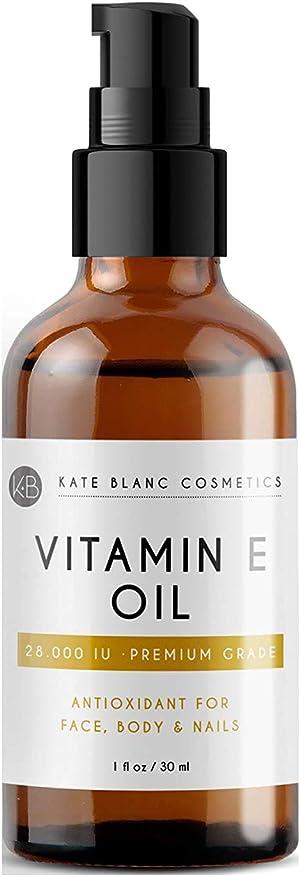 Vitamin E Oil by Kate Blanc. Moisturizes Face and Skin. 28,000 IU. Reduce Appearance of Scars, Wrinkles, Dark Spots. DIY Lip Gloss (1 oz)