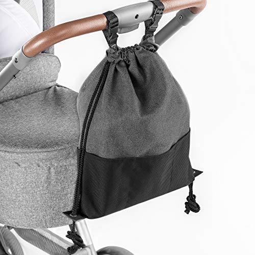 Zamboo Bolsa Ligera Silla de paseo - Bolso Panera Universal/Organizador Carrito con ganchos - Pequeno bolso cambiador/Mochila para panales - Gris Negro Mochila para panales - Gris Negro