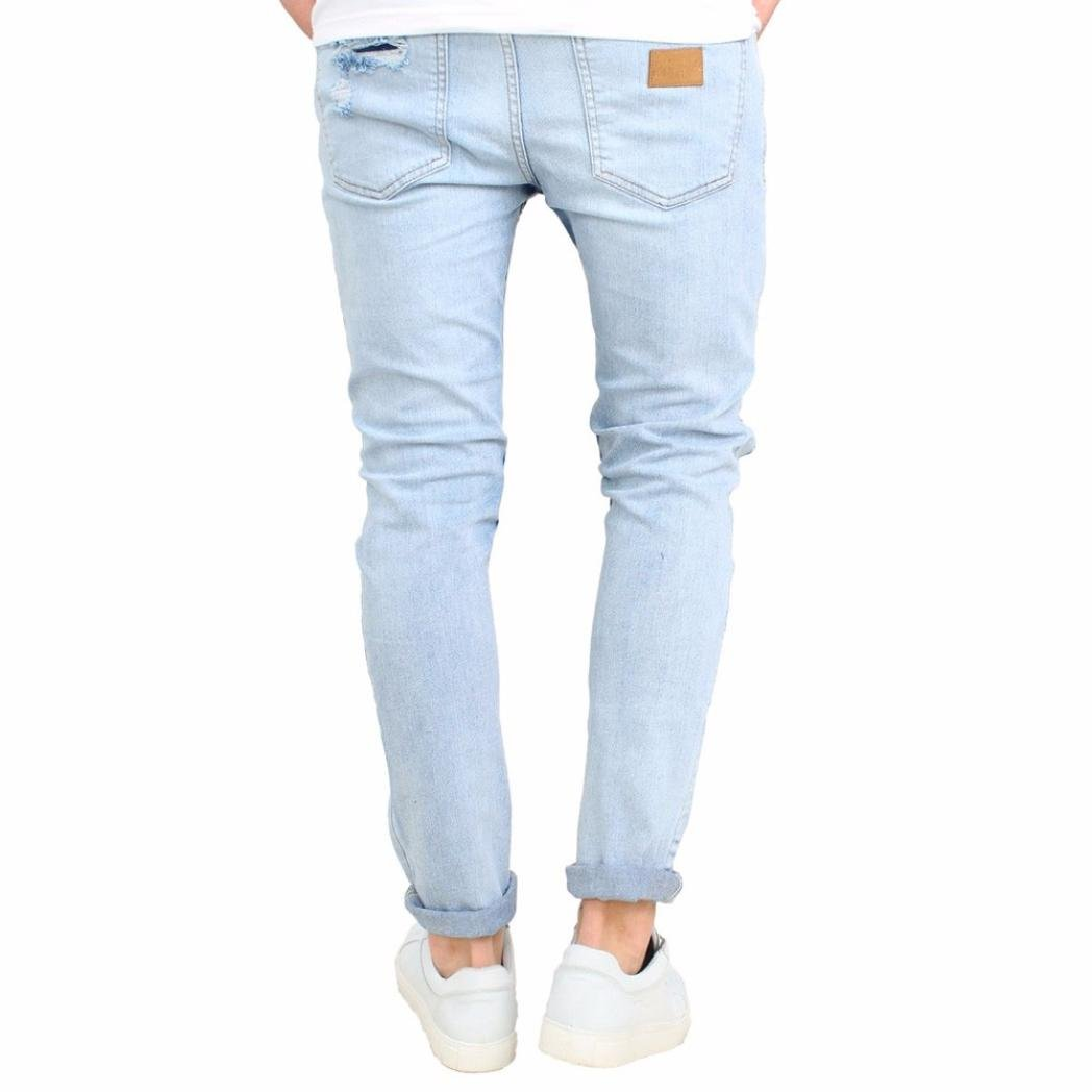 Men Jeans Daoroka Men's Ripped Slim Fit Straight Denim Motorcycle With Broken Holes Younger-Looking Pants (32, Blue) by Daoroka Men Pants (Image #2)