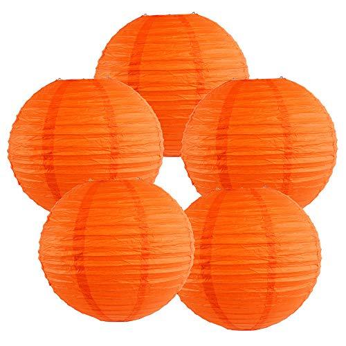 (Just Artifacts 8-Inch Red Orange Chinese Japanese Paper Lanterns (Set of 5, Red)