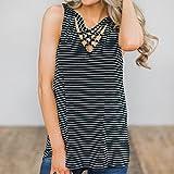FRC0LT 2018 Women Stripe Criss Cross Front Sleeveless Tank Blouse Pullover Tops Shirt (M, Black)