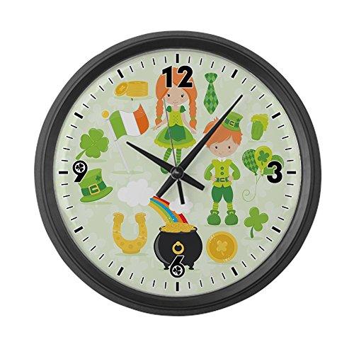 Large Wall Clock Irish St. Patrick's Day Shamrock World