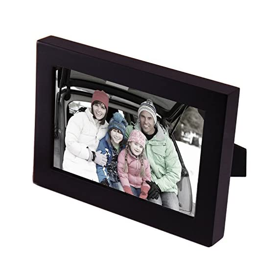 Adeco 4x6 Black Wood Decorative Picture Frame - Wall hanging or Table Top Desktop Display - Made to Display 4x6 Photo - Material: MDF Glass Cover--Extra Safty for Children and Protects Pics from Stain, Dust and Scraches Specs: item size: 7 x 5 x 1 inches,  1 inch thick Frame Holds one 4x6 inches standard sized photos Matte Black Wooden Finish Frame providing protection and display for your most important memories - picture-frames, bedroom-decor, bedroom - 51Ad191KD7L. SS570  -