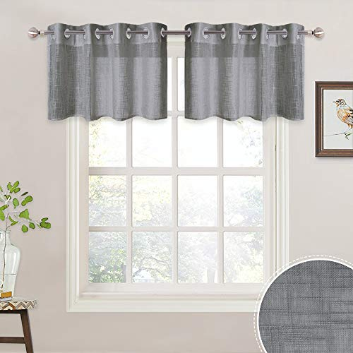 RYB HOME Half Window Linen Textured Sheer Curtains Tiers, Short Draperies for Baby Nursery/Bathroom, Light Filtering Prevent Directly Sunlight Glare, 52 x 18 inches Each, 1 Pair, Grey