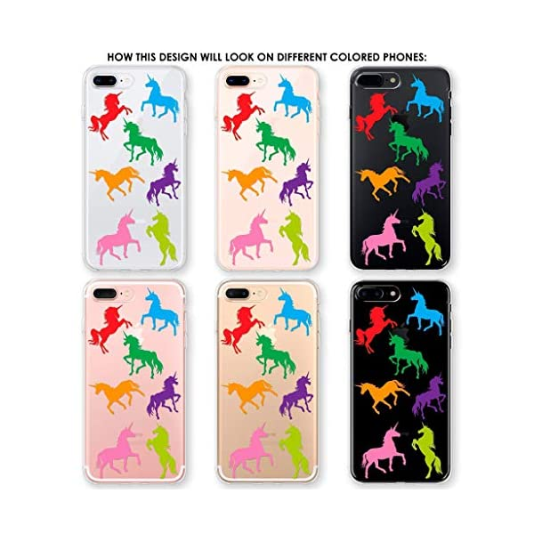 Clear Phone Case with Rainbow Unicorns fits Apple iPhone 11 Pro Max Xr Xs X 10s 10r 10 8 Plus 7 6s 6 Se 5s 5 Transparent… 5