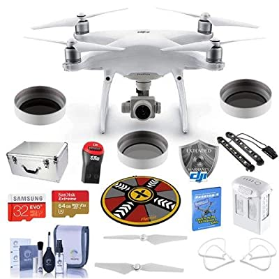 "DJI Phantom 4 Advanced Pro Kit - Bundle With DJI Aluminum Case, 64/32GB MicroSDXC Card, Spare Battery, DJI Care Refresh Warranty, Propeller Guard, 32"" Collapsible Pad, Polar LED Light Bars, More"