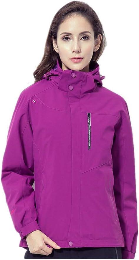 スキージャケット 山防風暖かい女性のスキー防水ジャケット暖かいと快適なフリースライニング ハイキングキャンプの散歩に最適 (色 : 紫の, サイズ : L) 紫の Large