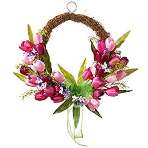 "National Tree 20"" Tulip Twig Wreath Pink 34"