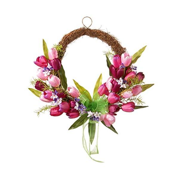National Tree 20″ Tulip Twig Wreath, Pink