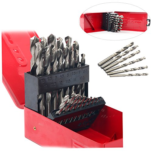 Yaetek 25-PIECE Twist High Speed Steel Drill Set Drilling Bit Metal Metric Tool 1-13mm, 118 Degree Split Point Angle, HSS Drill (Drill Point Angle)