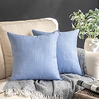 """Pack of 2 Textured Linen Throw Pillow Cases Cushion Covers 22/""""x22/"""""""