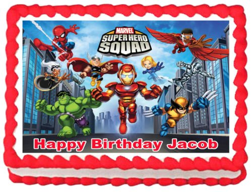 Unbranded Super Hero Squad Party Edible Image Cake Topper Design ()