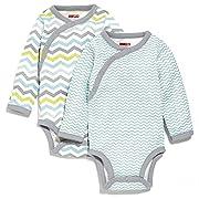Skip Hop Baby Boys' Starry Chevron Side-Snap Long Sleeve Bodysuit Set, Blue, 6 Months