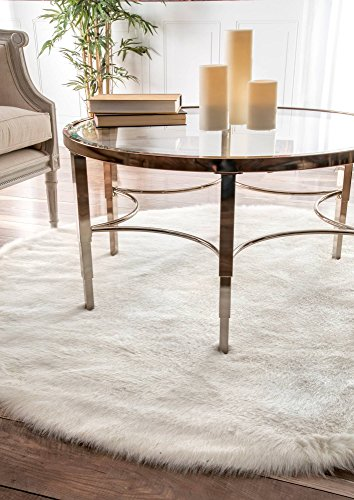 nuLOOM Cloud Shag Round Rug, 5', White Cloud White Area Rug