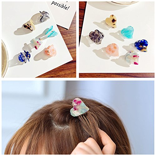 - Lovef 6pcs Lovely Floral Mini Hair Bangs Clips Butterfly Heart Shaped Hair Claws Grippers Accessories for Women Girls