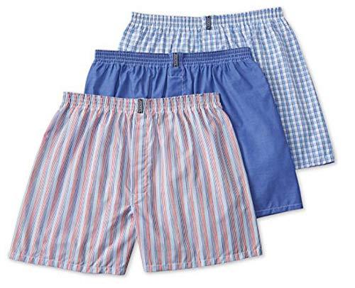 Jockey Men's Underwear Classic Full Cut Boxer - 3 Pack (Blue and Red Stripe Asst, LG (Waist 36-38