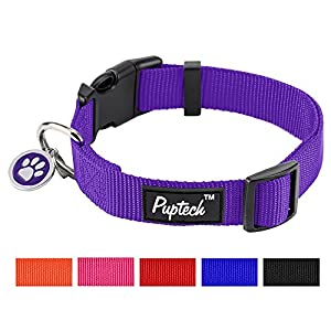 "PUPTECK Nylon Puppy Adjustbale Collars Designer for Medium Small Dogs with ID Tag 12""-16"""