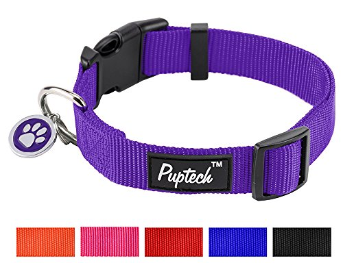 PUPTECK Nylon Puppy Adjustable Collars for Small Dogs with ID Tag XS 7.5-10.2