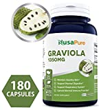 Pure Graviola 1350mg 180caps (Non-GMO, Gluten Free) Made in USA, Soursop Supplement – Healthy Skin & Helps Promotes Cell Growth, Respiratory System, Balanced Mood – 100% Money Back Guarantee!