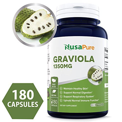 Pure Graviola 1350mg 180caps (Non-GMO, Gluten Free) Made in USA, Soursop Supplement - Healthy Skin & Helps Promotes Cell Growth, Respiratory System, Balanced Mood - 100% Money Back Guarantee!