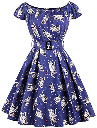 Dear-Queen Plus Size 3XL 4XL Cute Cat Print Vintage Dress Women Cotton Retro Robe Rockabilly Belt Swing Party Dress Vestidos De Festa (X-Large, Navy2) -