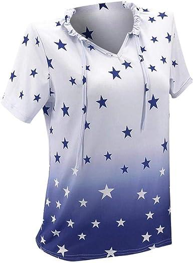 Camisetas Mujer Cortos Estrellas Impreso Camisas Verano ...