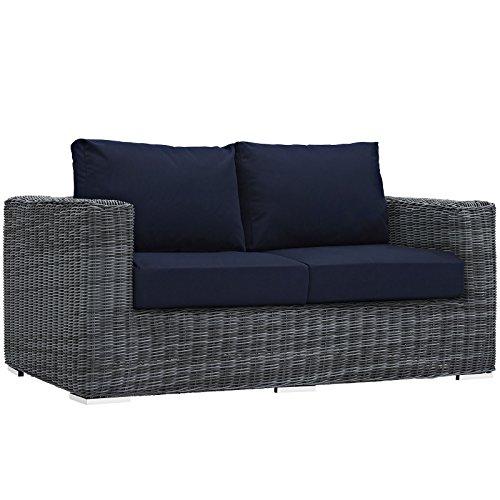 (Modway EEI-1865-GRY-NAV Summon Wicker Rattan Outdoor Patio Loveseat with Sunbrella Fabric Cushions, Navy)