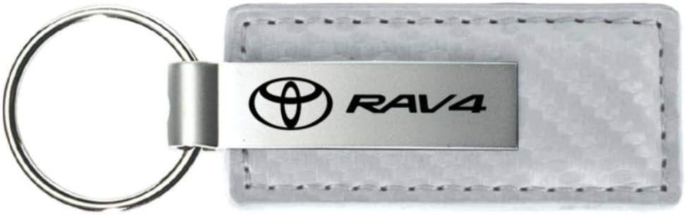 Genuine TOYOTA RAV4  Chrome Rectangular Metal Keyring White//Black Branded
