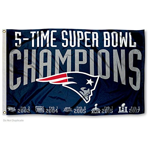 New England Patriots Double Sided 5 Time Super Bowl Champions Flag