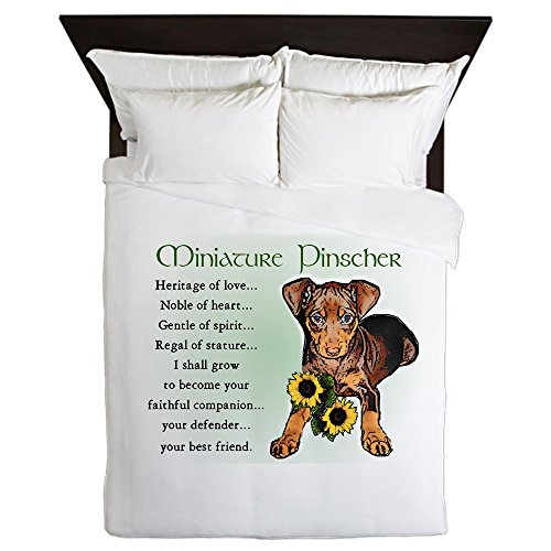 CafePress - Miniature Pinscher - Queen Duvet Cover, Printed Comforter Cover, Unique Bedding, Microfiber (Pin Akc Min)